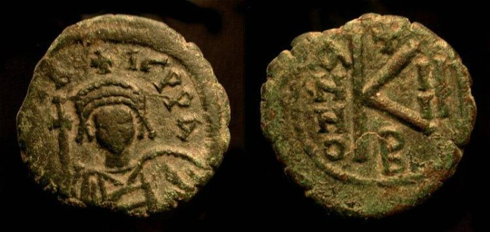 Ancient Coins -  Byzantine Empire. Maurice Tiberius 582-602 AD. Constantinople mint. AE Half Follis