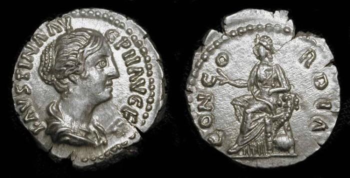 Ancient Coins - zz Faustina Jr. (Wife of Marcus  Aurelius  161-180 AD) . AR Denarius .  Near Mint