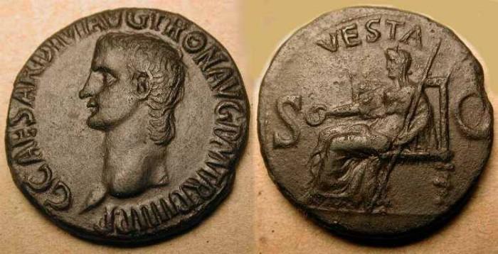 Ancient Coins - Caligula . 37 - 41  AD . Copper As . Vesta
