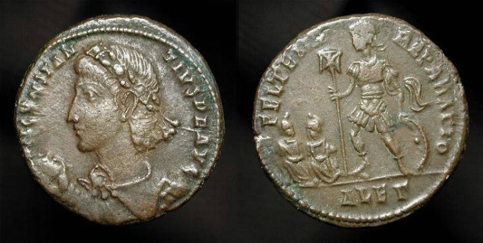 Ancient Coins - Constantius II 337-361 AD. Emperor with Chi-Rho banner and captives. AE Centenionalis