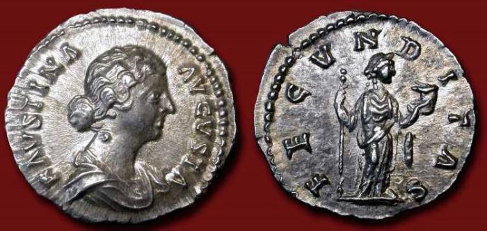 Ancient Coins - Faustina II. AR Denarius . Fecunditas
