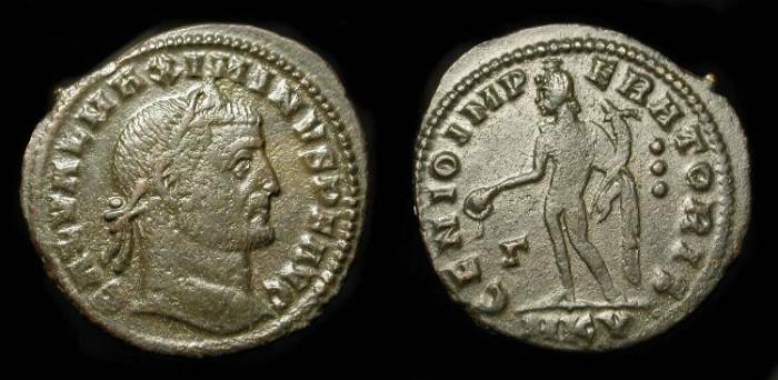 "Ancient Coins - Maximinus II ""Daza"".  309-313 AD. AE Follis. Cyzicus Mint. RIC VI 70 (s) Scarce Type."