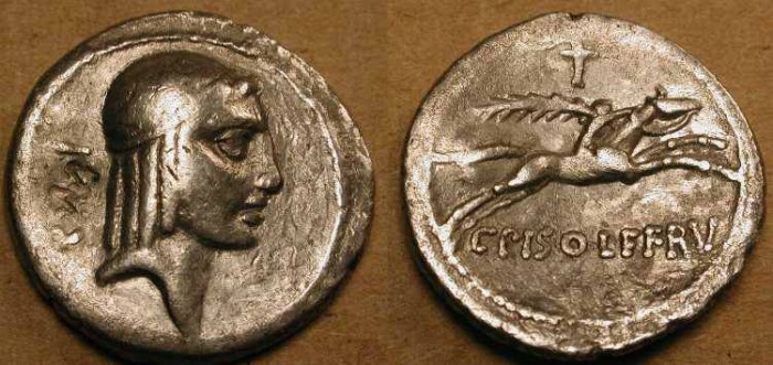 Ancient Coins - xRoman Republic . 67  BC  . Apollo / Horseman