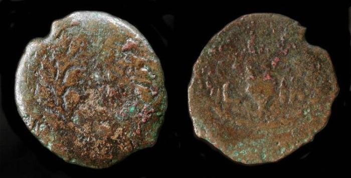 Ancient Coins -  Valerius Gratus, 15 - 26 AD. Prefect under Tiberius. AE Prutah. H 1340