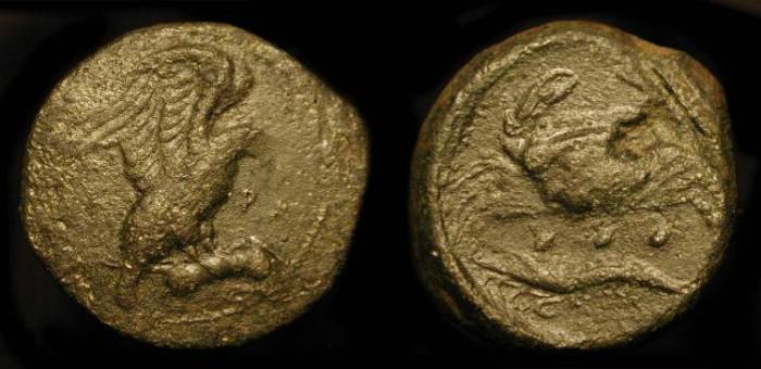 Ancient Coins - Sicily, Akragas. 5th Century BC . AE Tetras