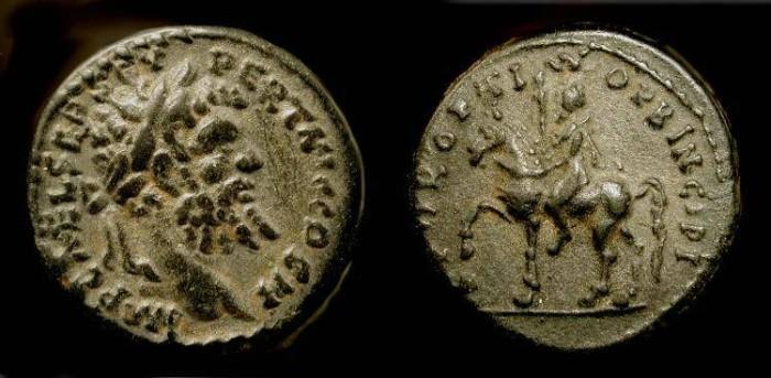 Ancient Coins - Septimius Severus 193 - 211 AD. Limes Denarius. Superb !