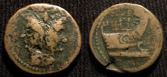 Ancient Coins - x Bronze As of Sextus Pompey. 43-36 BC