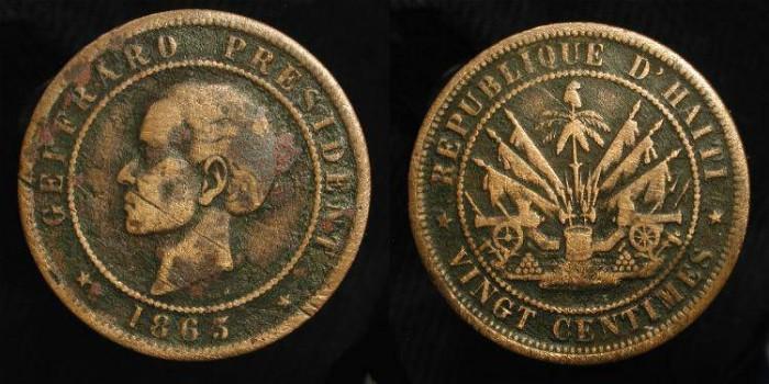 Ancient Coins - Haïti. President Geffrard, 1863. 20 Centimes