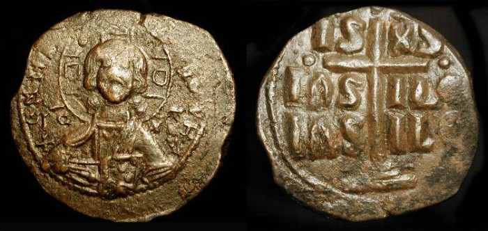 World Coins - Class B, Anonymous AE Follis of Christ. Attributed to Romanus III (1028-1034 AD)