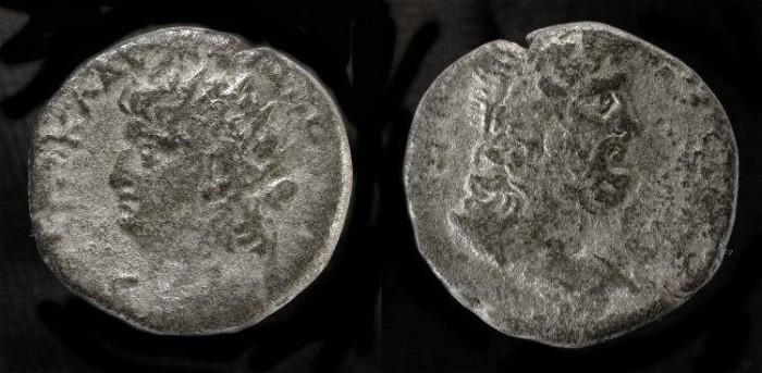 Ancient Coins - Nero 54-68 AD. Roman Egypt. AR Tetradrachme. Poseidon Reverse !
