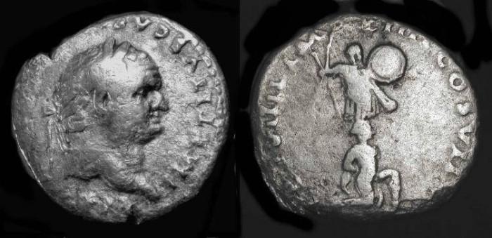 Ancient Coins - Titus. As Caesar,  69-79 AD. AR Denarius. Judaea Capta. Hendin 1583
