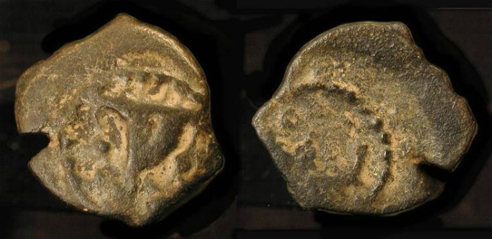 Ancient Coins -  Herod Archelaus 4 BC - 6 AD. AE Prutah. H 1195. Commemorates Voyage to Rome