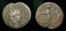 Ancient Coins - Roman Britain, Gallic Empire. Victorinus 269-271 AD, AE Antoninianus.