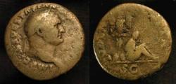 Ancient Coins - Vespasian, 69-79 AD. AE As.  Judaea Capta. Tarraco