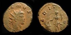 Ancient Coins - Gallienus  260-268 AD. AE Antoninianus. Uberitas Holding Cow's Udder !
