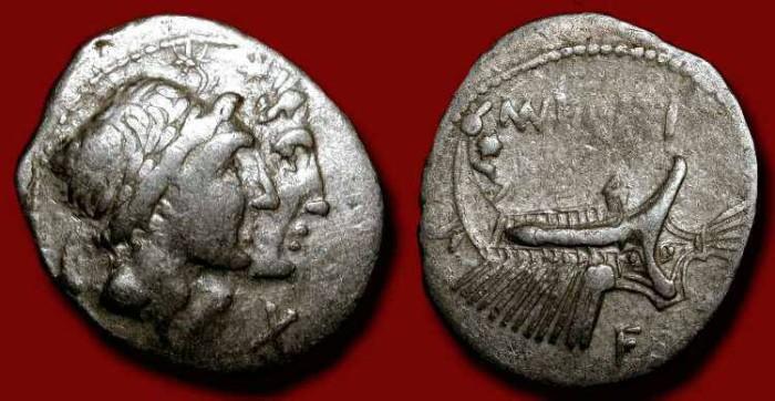 Ancient Coins - Mn. Fonteius, 108-107 BC. AR Denarius. Dioscuri / Galley ship under oar.