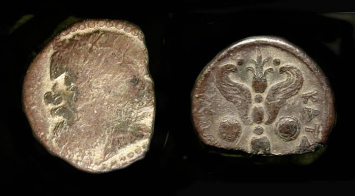 Ancient Coins - Sicily, Katane. 413-404 BC. Silver Litra. Seilenos / Winged Thunderbolt. SG 774  Rare