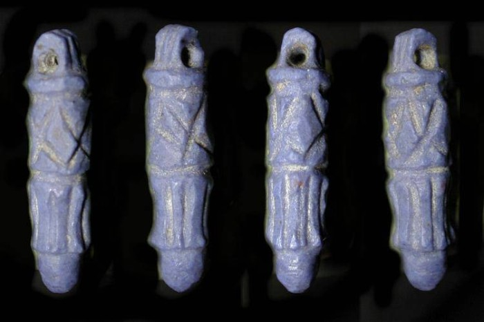 Ancient Coins - Ancient Egypt. 18-19th Dynasties (1550-1186 BC). Decorated Stone Cylinder Amulet