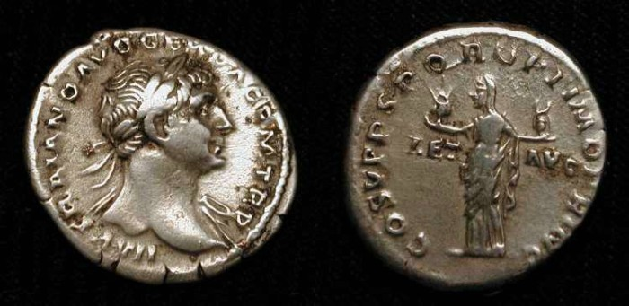 Ancient Coins - Trajan 98-117 AD. AR Denarius. Aeternitas holding Heads of Sol and Luna. RIC 91 (Scarce)