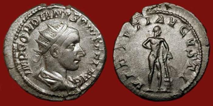Ancient Coins - Gordian III 238-244 AD. Silver Antoninianus. Hercules.