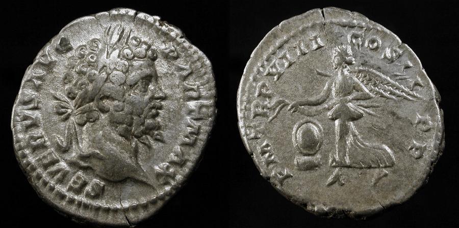 Ancient Coins - Septimius Severus 198-211 AD. AR Denarius. Rome Mint 200 AD. RIC 150