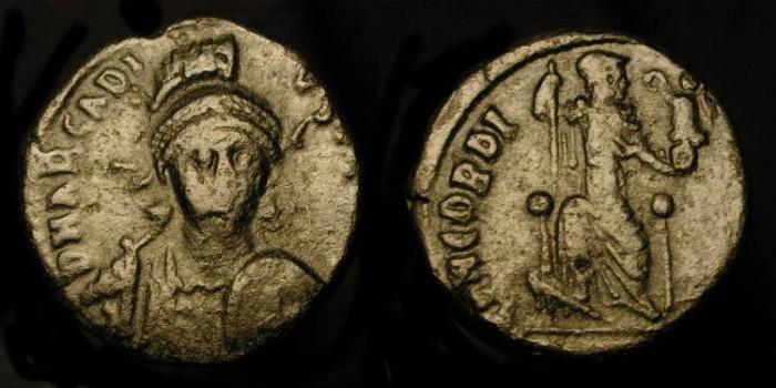 Ancient Coins - Arcadius,  383-408 AD. AE 15. Front Facing Portrait