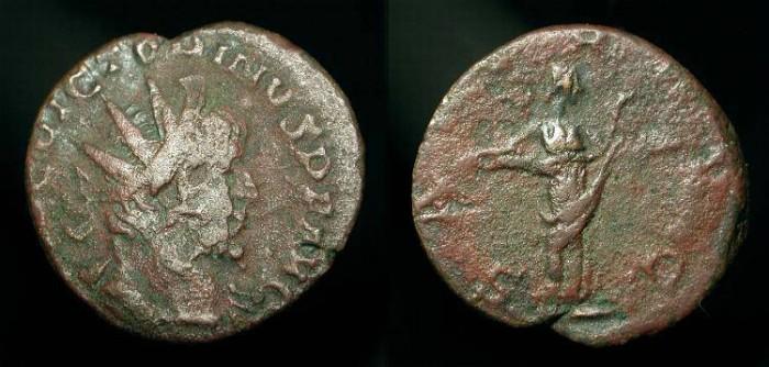 Ancient Coins - Roman Britain, Gallic Empire. Victorinus 269-271 AD, AE Antoninianus.