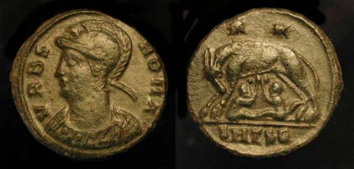 Ancient Coins - City Commemorative. Urbs Roma. Time of Constantine the Great. AE Follis. Thessalonika Mint. RIC 187