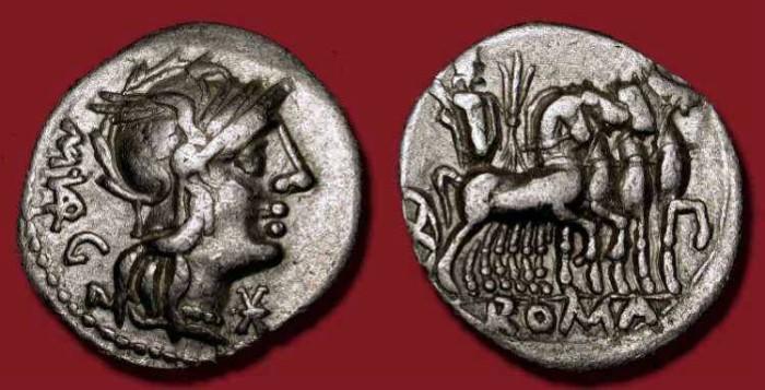 Ancient Coins - M. Vargunteius. 130 BC. AR Denarius