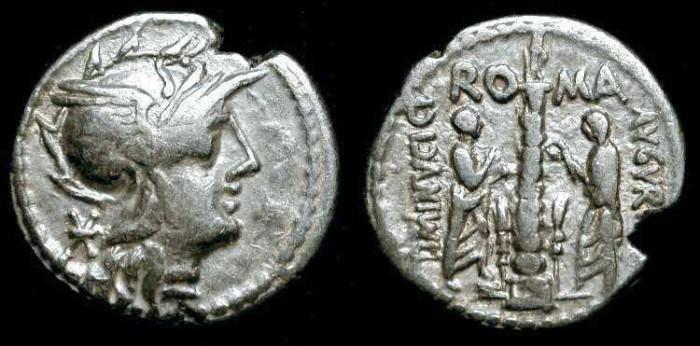 Ancient Coins - Ti. Minucius C.f.Augurinus, 134 BC. Roman Republic AR Denarius