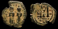 Ancient Coins - Arab Byzantine. Standing figures imitating Phocas & Leontia. AE Follis, Year 4. Goodwin Type A (Focus Type)