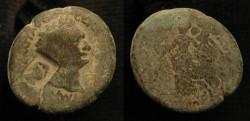 Ancient Coins - Domitian 81-96 AD. AE 25. Caesarea. Judaea Capta. Countermark