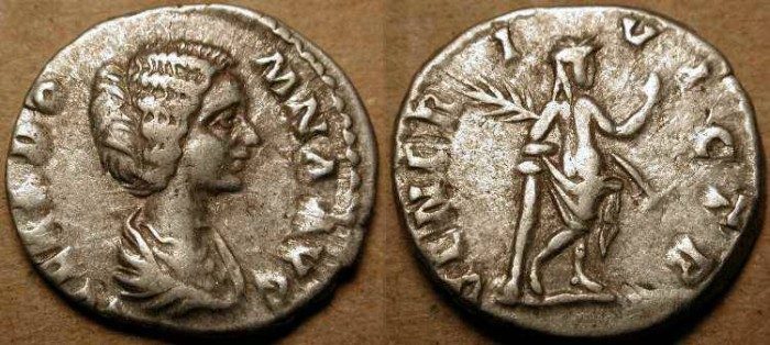 Ancient Coins - z  Julia Domna . AR Denarius . Nude Venus .
