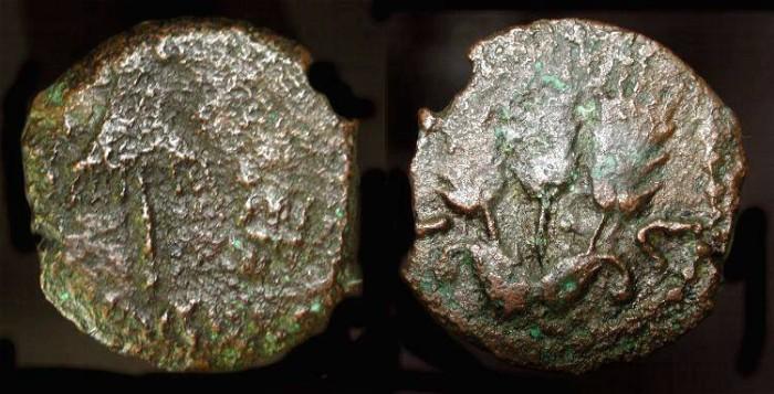Ancient Coins -  Judea. Herod Agrippa I 37 - 44 AD, Bronze Prutah. H 1244
