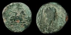 Ancient Coins - Thrace, Abdera 345-323 BC.  AE 16. Griffin / Apollo