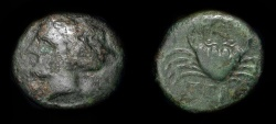 Ancient Coins - Bruttium, Terina. 4th Century BC. AE 17. Nymph / Crab. Rare. SNG ANS 889