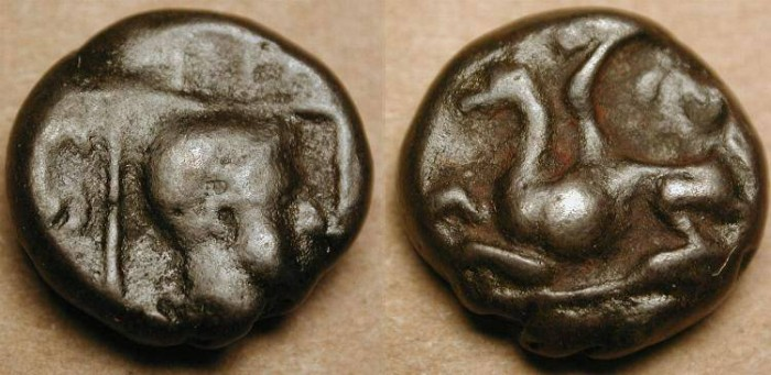 Ancient Coins - xAbdera, Thrace . AE 12 mm . Gryphon . 4th century BC
