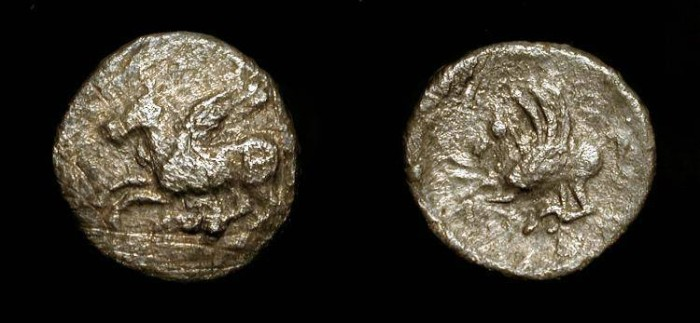 Ancient Coins - Corinth AR Diobol.  5th-4th Century BC. Pegasus on Obverse and Reverse