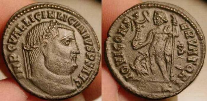 Ancient Coins - Licinius I . AE Follis . 308-324 AD . Unusual .