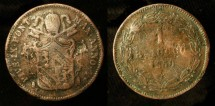Ancient Coins - Papal States. Pope Pius IX, 1846-1878 AD. AE Baiocco. Rome 1850