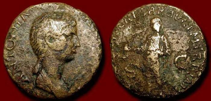 Ancient Coins - Antonia . Dupondius . Daughter of Marc Antony, Mother of Claudius, Grandmother of Caligula  .