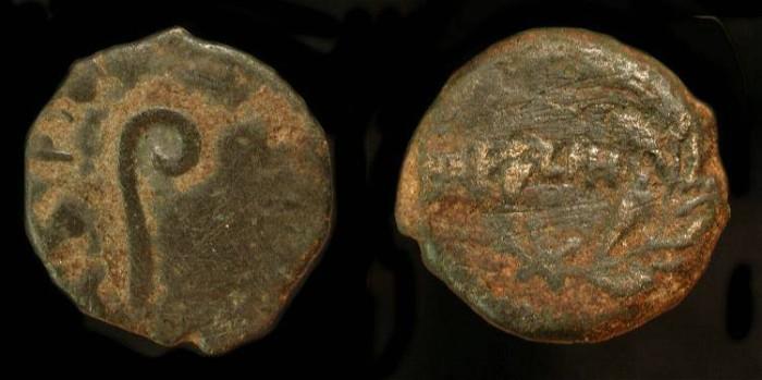 Ancient Coins -  Pontius Pilate under Tiberius, 26-36 AD AE Prutah. H 1343