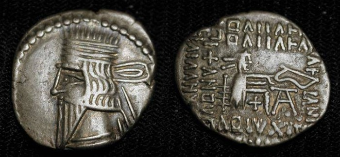 Ancient Coins - Parthia, Vologases III.105-147 AD. Silver Drachm