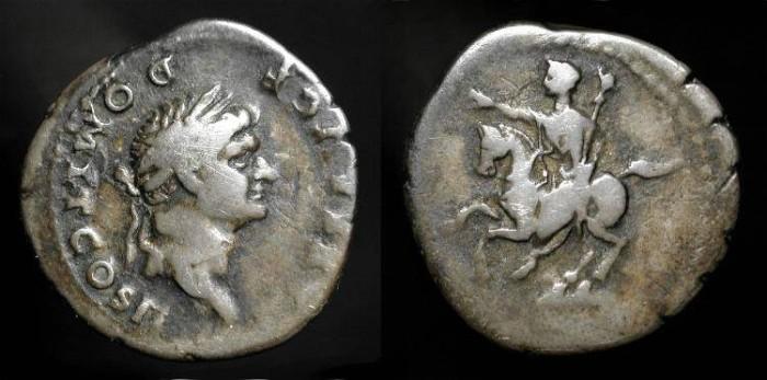 Ancient Coins - Domitian, As Caesar, 69-81 AD. AR Denarius - Domitian on horseback