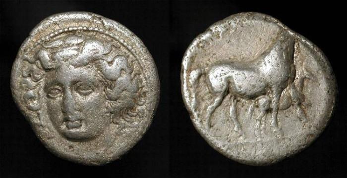 Ancient Coins - Larissa, Thessaly 350-325 BC. AR Drachm
