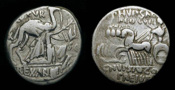 Ancient Coins - x Roman Republic. M. Aemilius Scaurus and Publius Plautius Hypsaeus. 58 BC. AR Denarius
