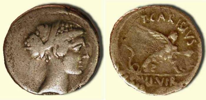 Ancient Coins - z Carisia 11 .  Sibyl Herophile  /  Sphinx   .  46  BC  .
