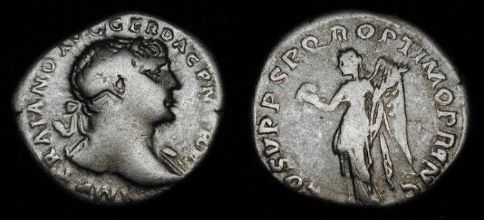 Ancient Coins - Trajan 98 - 117 AD . AR Denarius