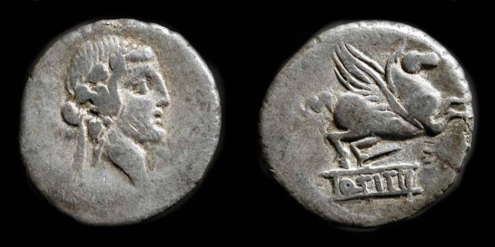 """Ancient Coins - Roman Republic. Q. Titius. AR Denarius. 90 BC  ***  Reserved for """" D S """" ***"""