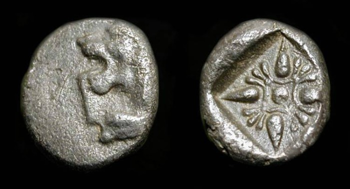 Ancient Coins - Ionia, Miletos. AR Twelfth Stater. 6th Century BC. Roaring Lion / Star.